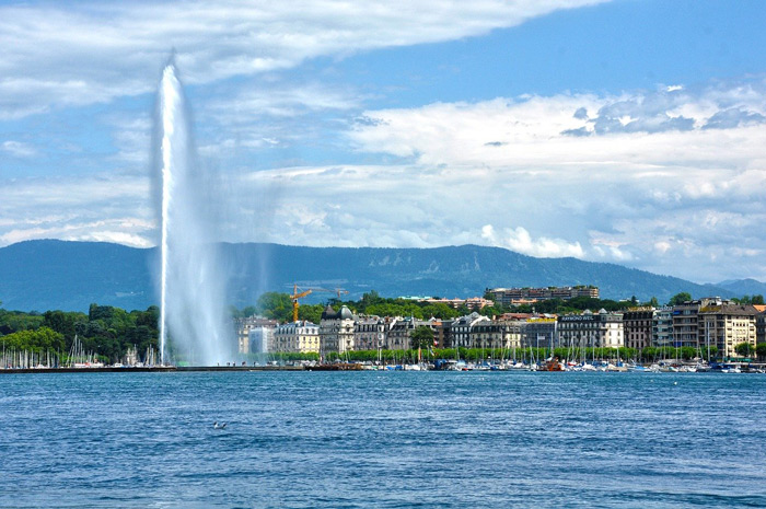 Fountain in Geneva, Switzerland, Europe